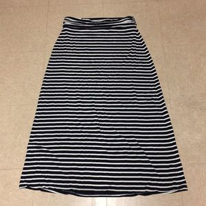 J Crew Navy and White Maxi Skirt